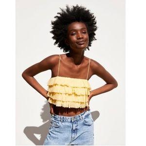 NWT Zara Yellow Ruffle Tulle Tank Top Shirt